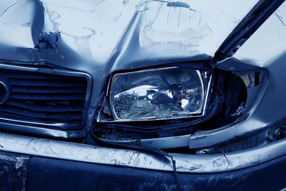 front of a vehicle after an accident