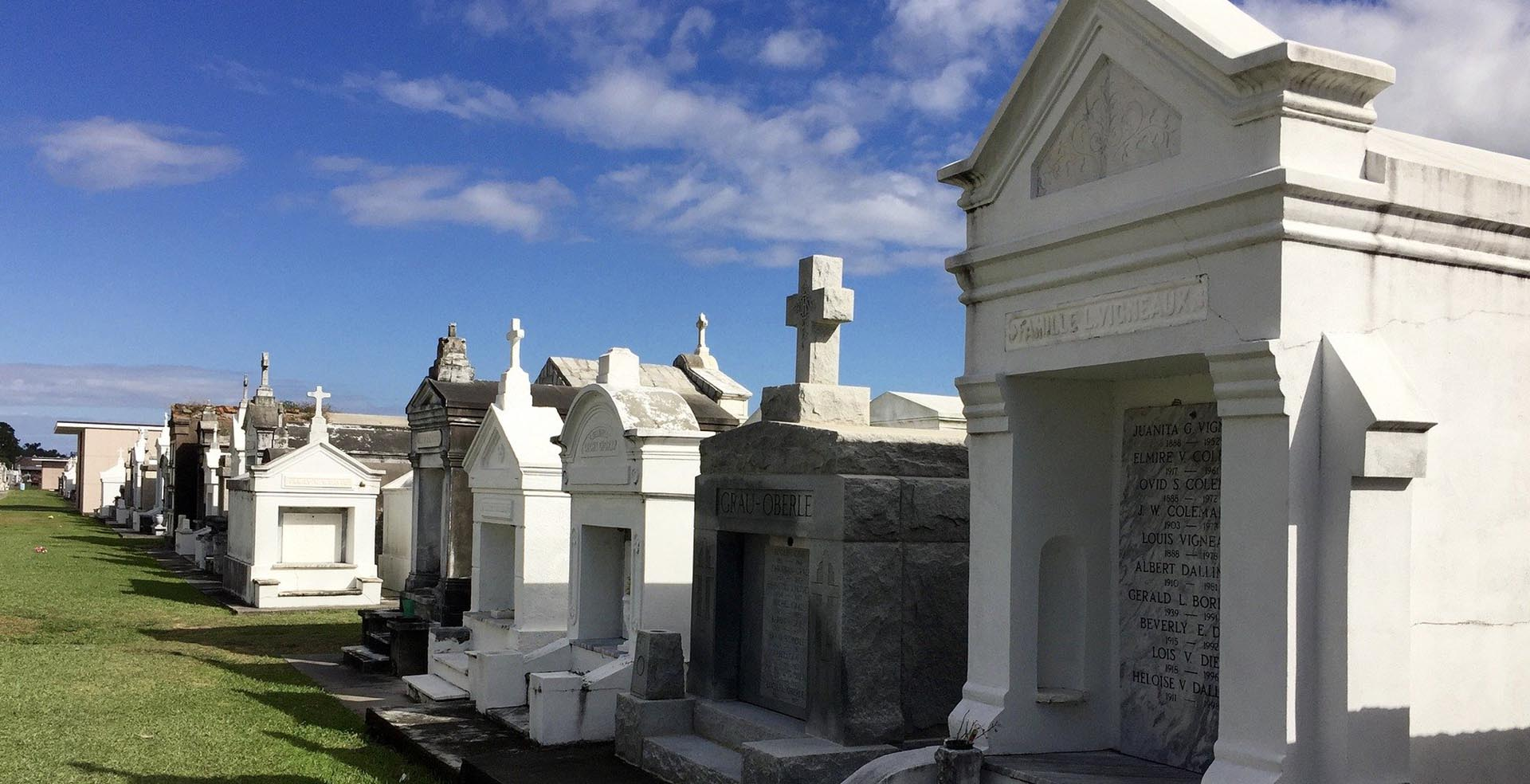 above ground graves at a New Orleans cemetery