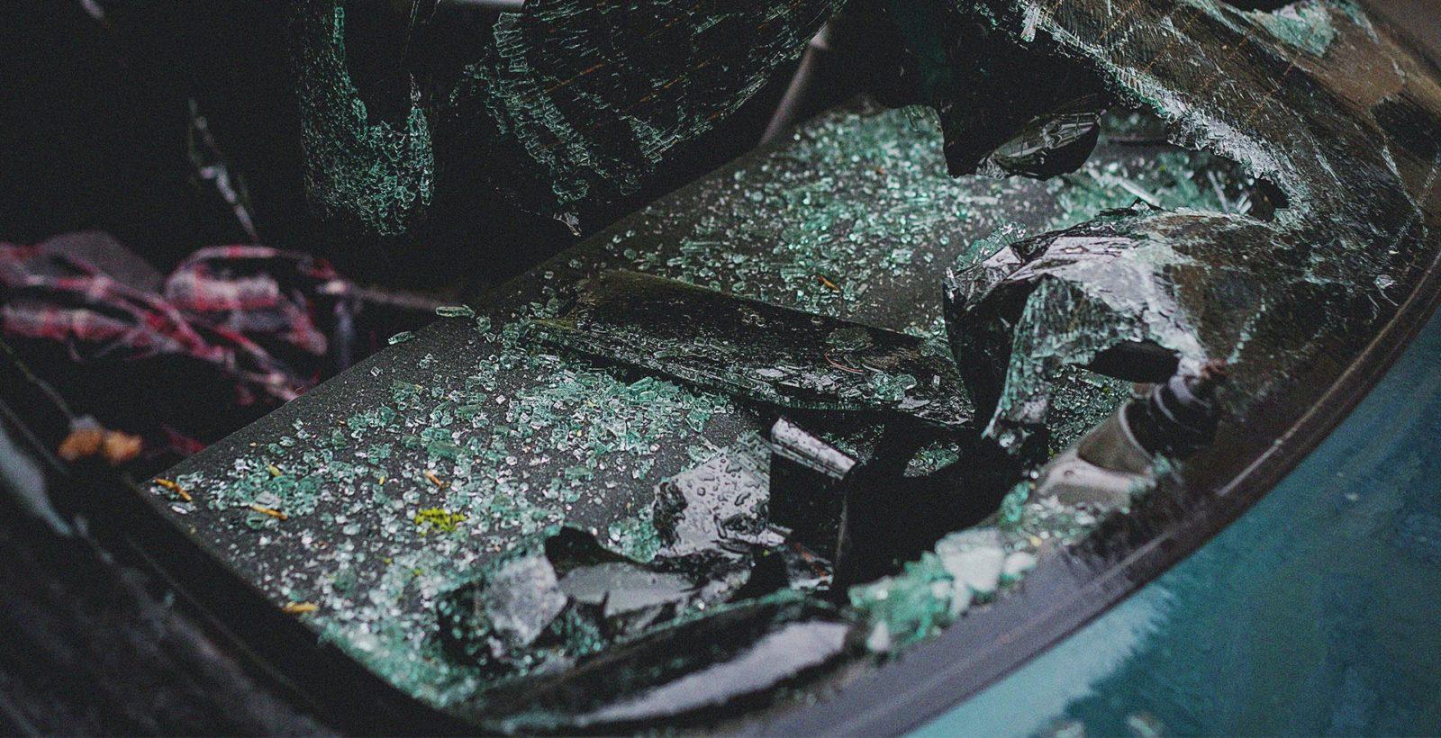 broken windshield of a vehicle